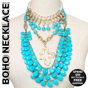 Boho Faux Turquoise Leather Pull Necklace
